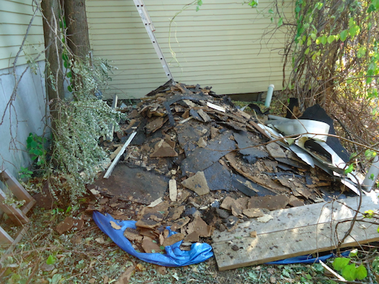 Pile of old roofing