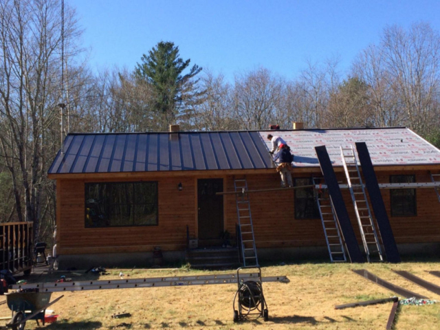metal roof install in progress